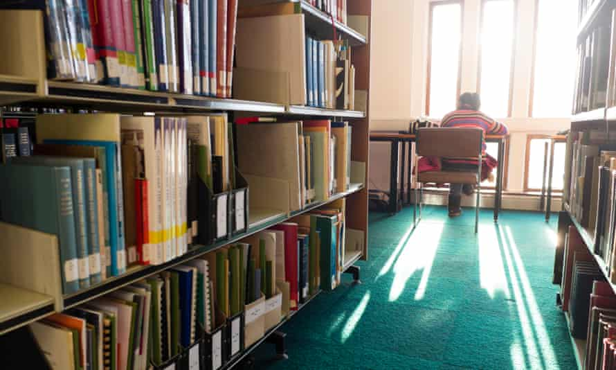 Students studying in the library at Aberystwyth University.