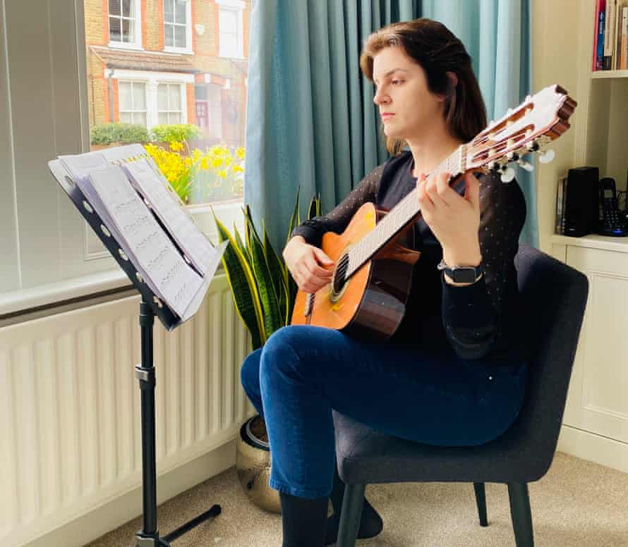 Anastasia Diakaki who has been learning to play the classical guitar