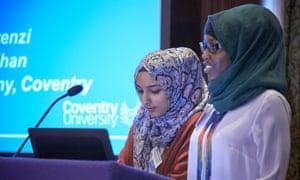 Rimshah Khan (left) and Samira Murenzi, pupils at Sidney Stringer Academy, Coventry, who helped trial Petals