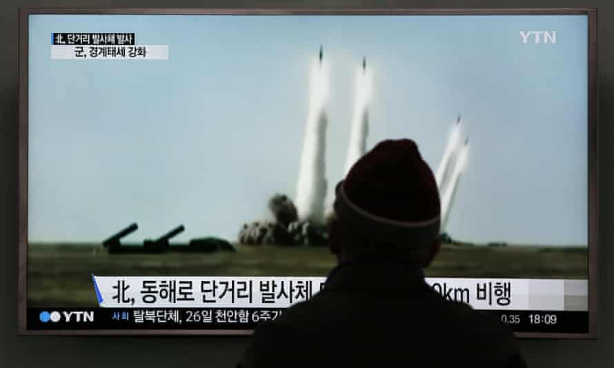 A man in Seoul, South Korea, watches footage of a North Korean missile test.