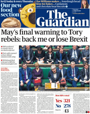 Guardian front page 14 March