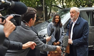 Jeremy Corbyn arrives for the Labour clause V meeting at Savoy Place in London