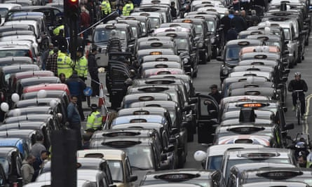 London cab drivers protest against Uber in central London in 2016.