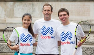 Raducanu with ex-pro Greg Rusedski and Benjamin Heynold at a charity event in 2017