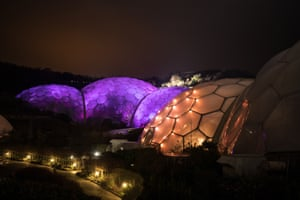 A view of the illuminations at night from outside the Eden Project.