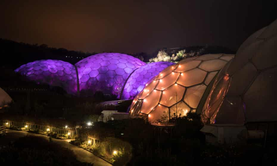 The giant biomes of the Eden Project near St Austell, Cornwall.