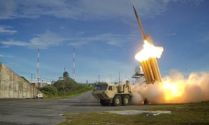 The Terminal High Altitude Area Defense missile system fires