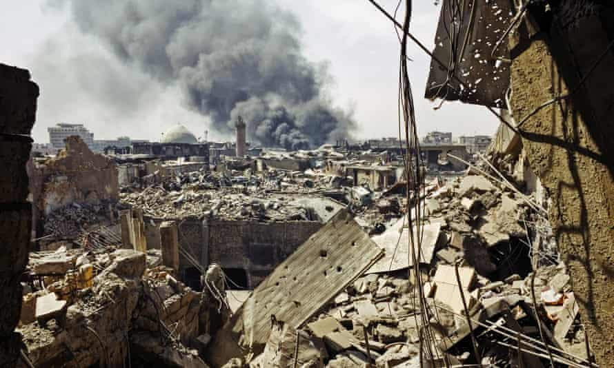 Destruction in the old city of Mosul, Iraq, on 12 July.