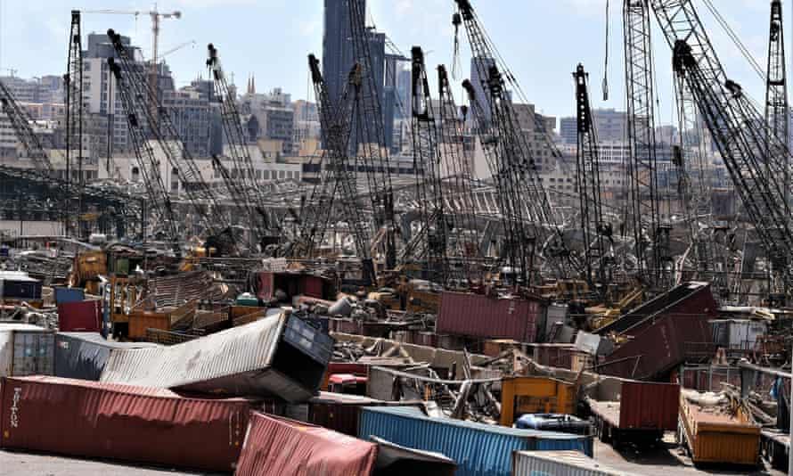 Explosion damage to Beirut's port.