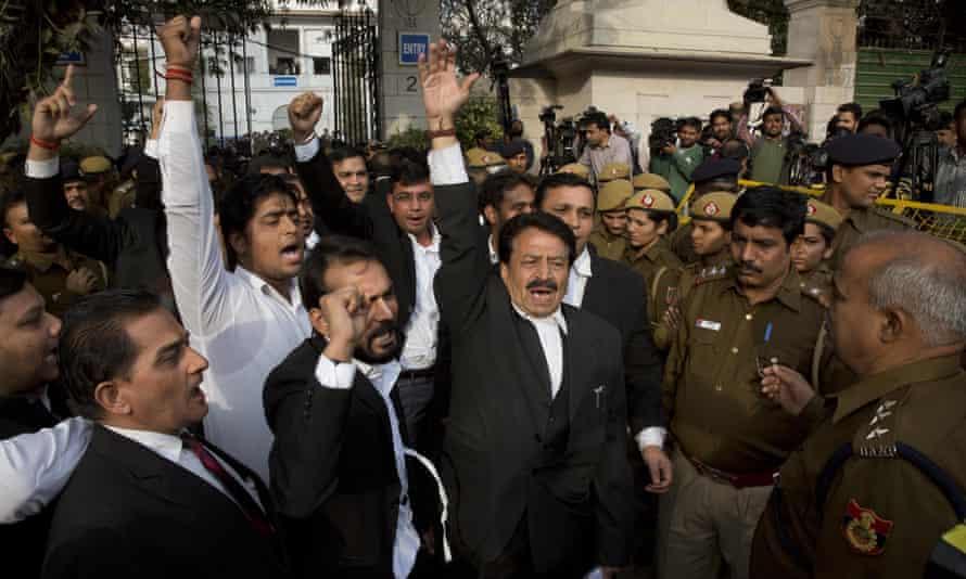 Lawyers shout slogans against Jawaharlal Nehru University student union president Kanhaiya Kumar outside court Delhi