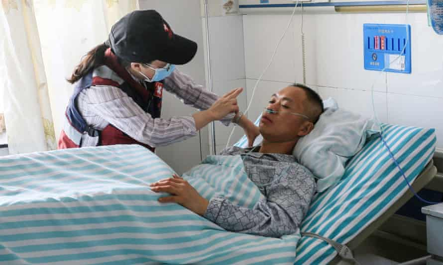 A runner receives treatment at a hospital