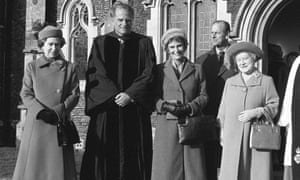 US evangelist Billy Graham (second left) with his wife Ruth, Queen Elizabeth II, the Duke of Edinburgh and the Queen Mother, when he preached at Sandringham parish church in 1984.