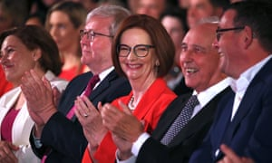 Former prime ministers Kevin Rudd, Julia Gillard and Paul Keating and Victorian premier Daniel Andrews at the Labor party's 2019 federal election campaign launch in Brisbane on Sunday.