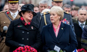 DUP leader Arlene Foster (left) and Heather Humphreys Irish Minister for Business, Enterprise and Innovation at the Enniskillen Cenotaph.