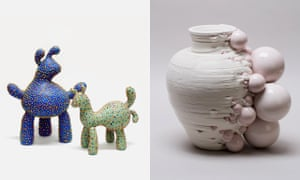 Left, Blue Rabbit and Fox by Ahryun Lee. Right, vessel by Andrea Salvatori, 2019