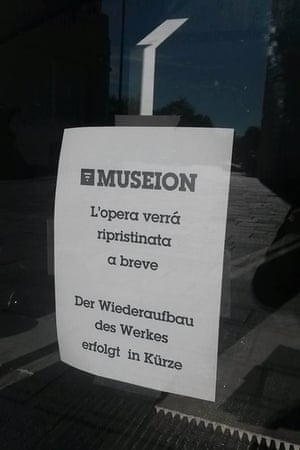 A sign outside the Museion tells visitors the work will be restored soon.