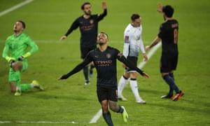 Gabriel Jesus celebrates scoring the third goal for Manchester City.