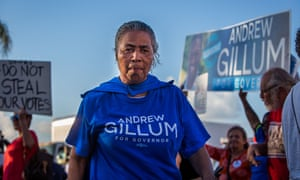 Residents of Broward county protest in support of Andrew Gillum, who remains narrowly behind his Republican opponent in the governor's race.