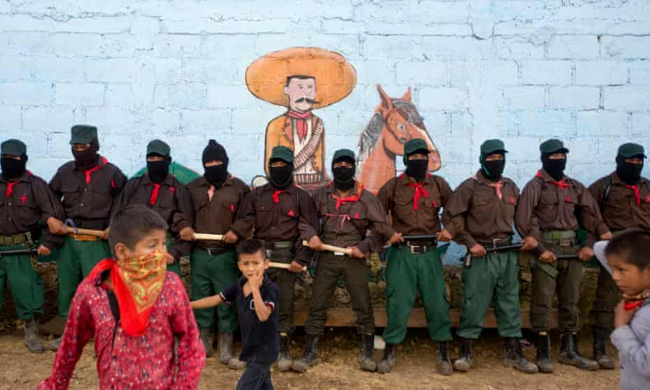 Members of the Zapatista national liberation army (EZLN) in La Garrucha, Chiapas