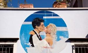 mural depicting Fellini's La Dolce Vita in Borgo San Giuliano, Rimini.
