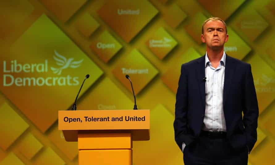 Liberal Democrat leader Tim Farron at a question and answer session with delegates at the Lib Dems' autumn conference in Brighton.