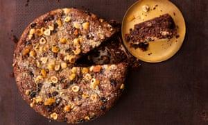 Hazelnut chocolate cake with sultanas and rosemary.