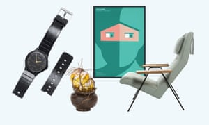 From left, broken watch from R for Repair at Singapore Design Centre; Strange Fruit by glassblower Chris Day; Stay at Home poster in support of the NHS by Noma Bar; reclining chair by Robin Day.