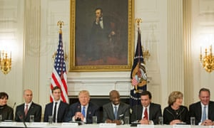 lineup of business executives with Trump