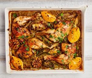 Yotam Ottolengh's spicy chicken and split-pea traybake