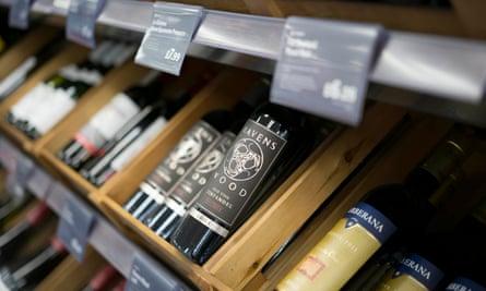 wine bottles displayed
