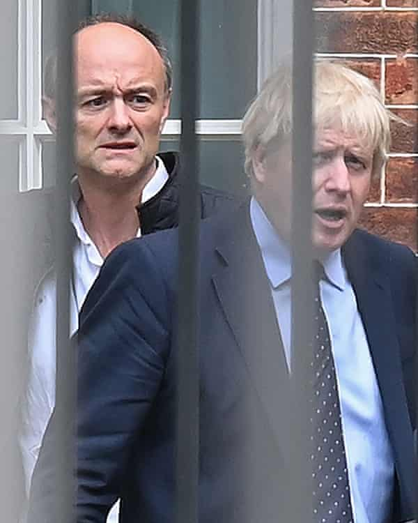 Boris Johnson en route from Downing St to the Houses of Parliament with special adviser Dominic Cummings.