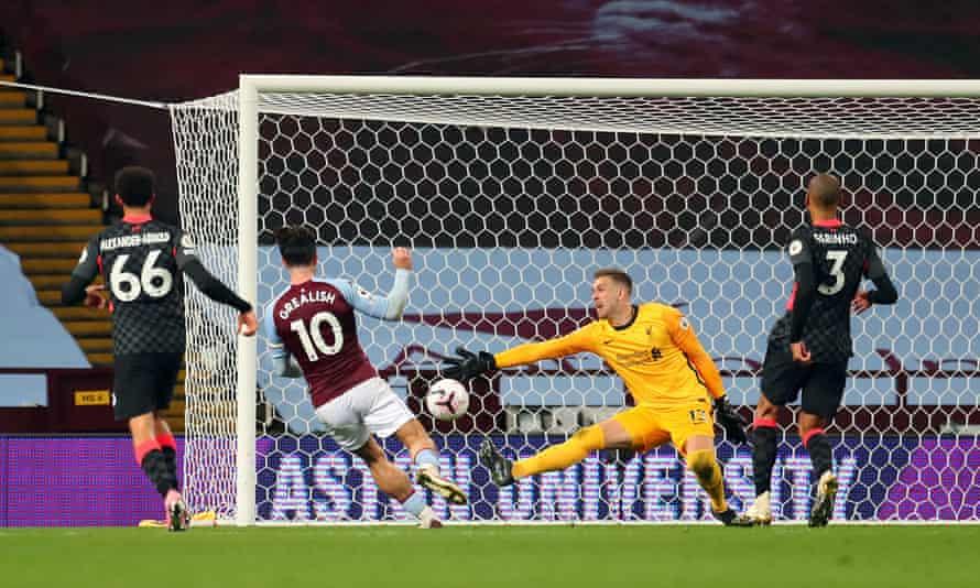 Aston Villa's Jack Grealish scores his side's seventh goal
