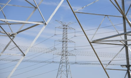 High voltage electricity towers are seen at Marsden Park, north west of Sydney,