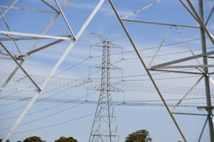 High voltage electricity towers are seen at Marsden Park, north west of Sydney
