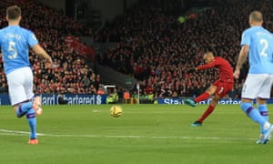 Fabinho scores from more than 25 yards out in Liverpool's 3-1 victory over Manchester City in November.