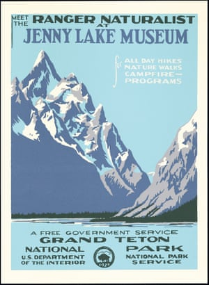 A exhibition of vintage National Park posters runs 18 June to 18 August. Originally created between 1938 and 1941, those on show have been recreated by Doug Leen and Brian Maebius. Seen here is the Grand Teton