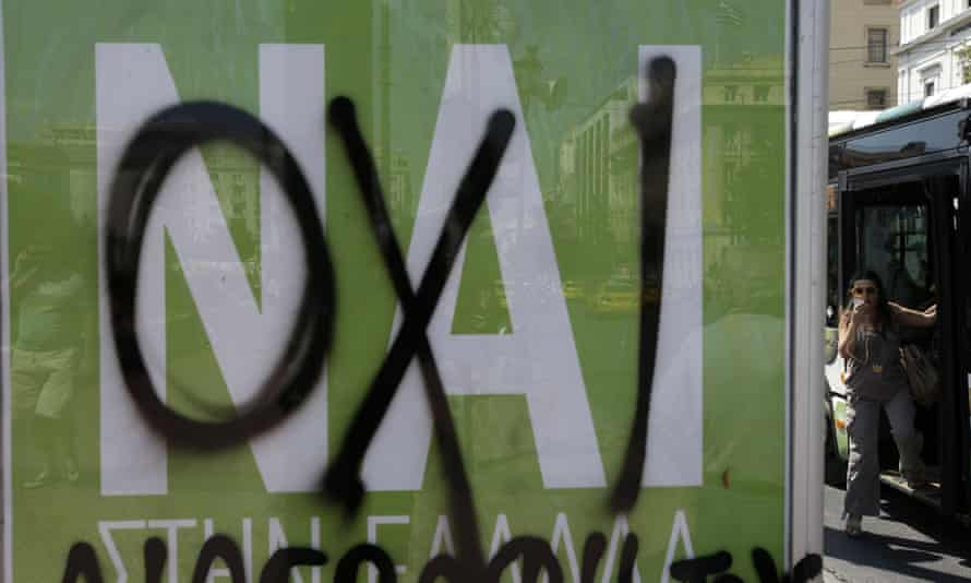 A nai (yes) poster in Greece is sprayed over with the word oxi (no).