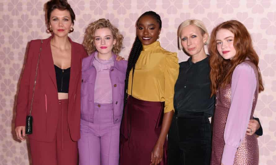 Nicola Glass with Maggie Gyllenhaal, Julia Garner, Kiki Layne and Sadie Sink at the Kate Spade show on Friday.