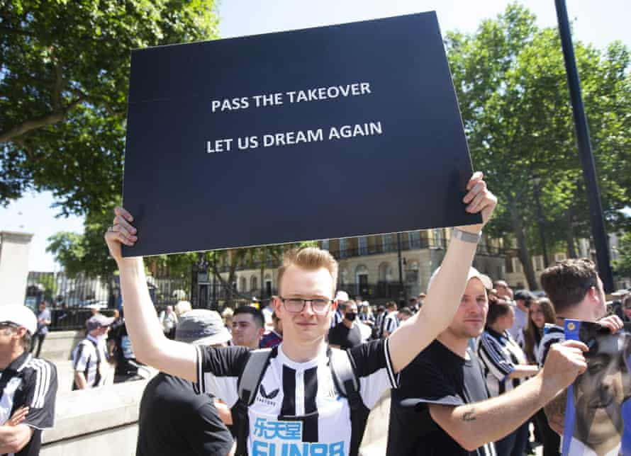 Newcastle fans protesting at Downing Street in July