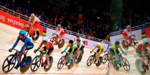 Cyclists compete during the women's 10 km scratch race final