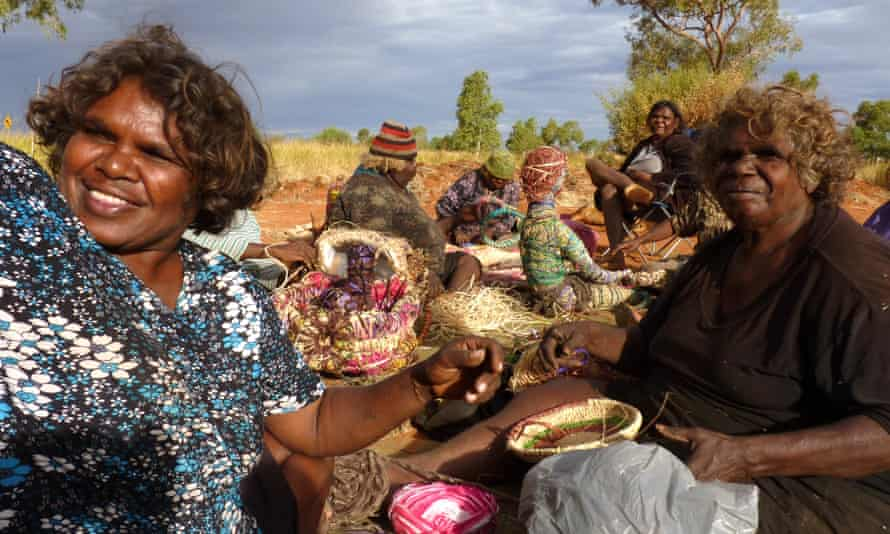 Some of the artists from Tjanpi Desert Weavers, which is a social enterprise in Western Australia.