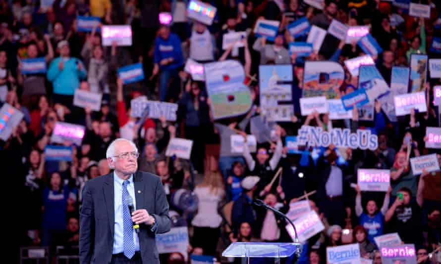 Bernie Sanders campaigning in Manchester, New Hampshire.