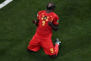 Romelu Lukaku celebrates at the end of the match after Nacer Chadli scored in the 94th minute to win the game for Belgium.