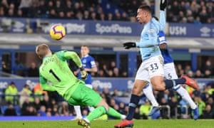 Gabriel Jesus of Manchester City scores his sides second goal