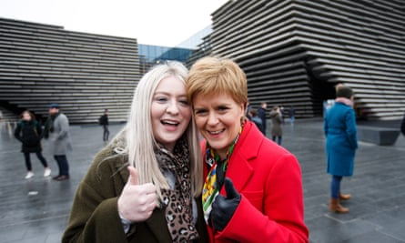 The SNP leader, Nicola Sturgeon, right, with Amy Callaghan, who won the East Dunbartonshire seat from Jo Swinson.