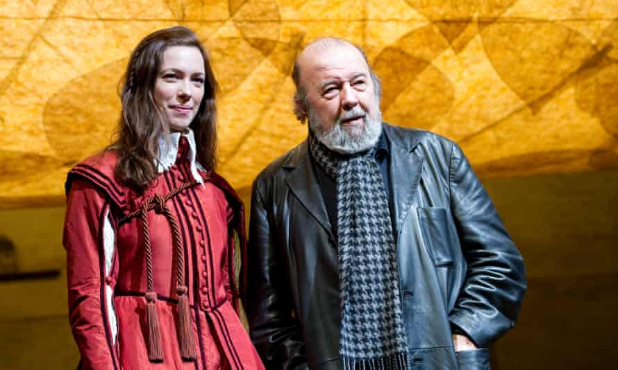 Peter Hall with his daughter Rebecca, on the set of Twelfth Night at the National.