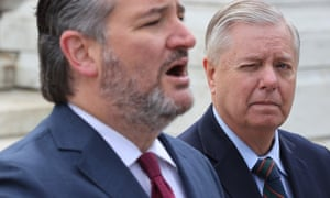 The real thing: Ted Cruz (left) on Capitol Hill this week, with Senator Lindsey Graham.