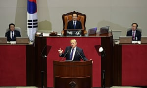 US president Donald Trump speaks at the National Assembly in Seoul, South Korea.