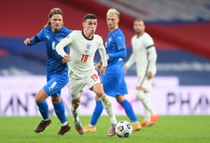 England's Phil Foden in action.
