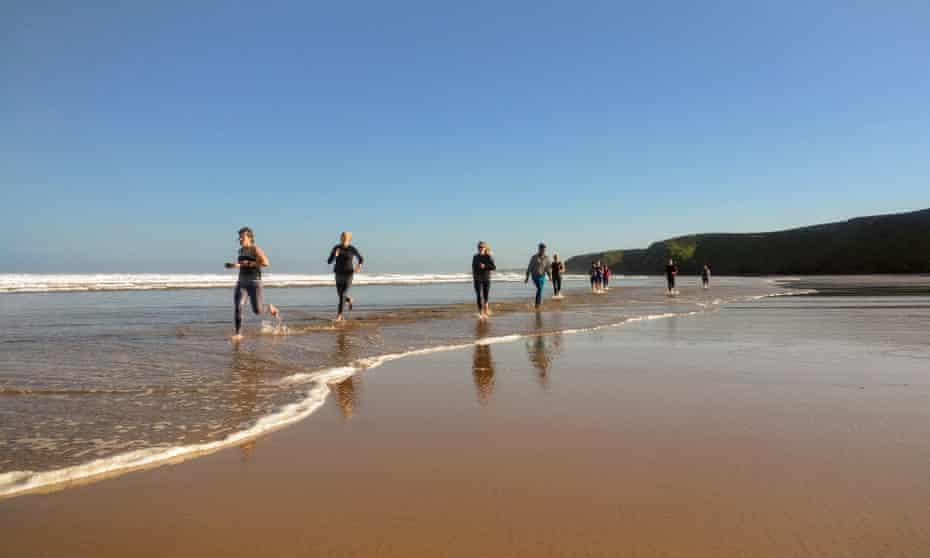 Running free … a beach workout near Newquay.